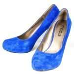 Pair of Blue Suede High Heel Shoes Back